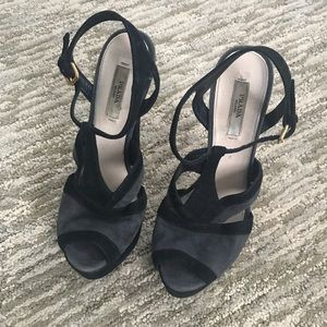 Prada Black Gray Strappy Ankle Heels
